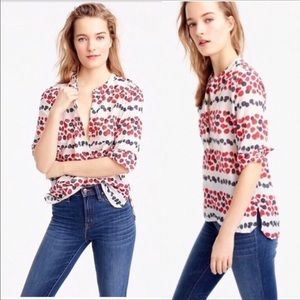 J. Crew Popover Top in Berry Print | Cotton/Silk